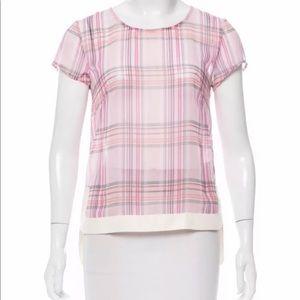 Jbrand pink plaid sheer blouse masai nwt